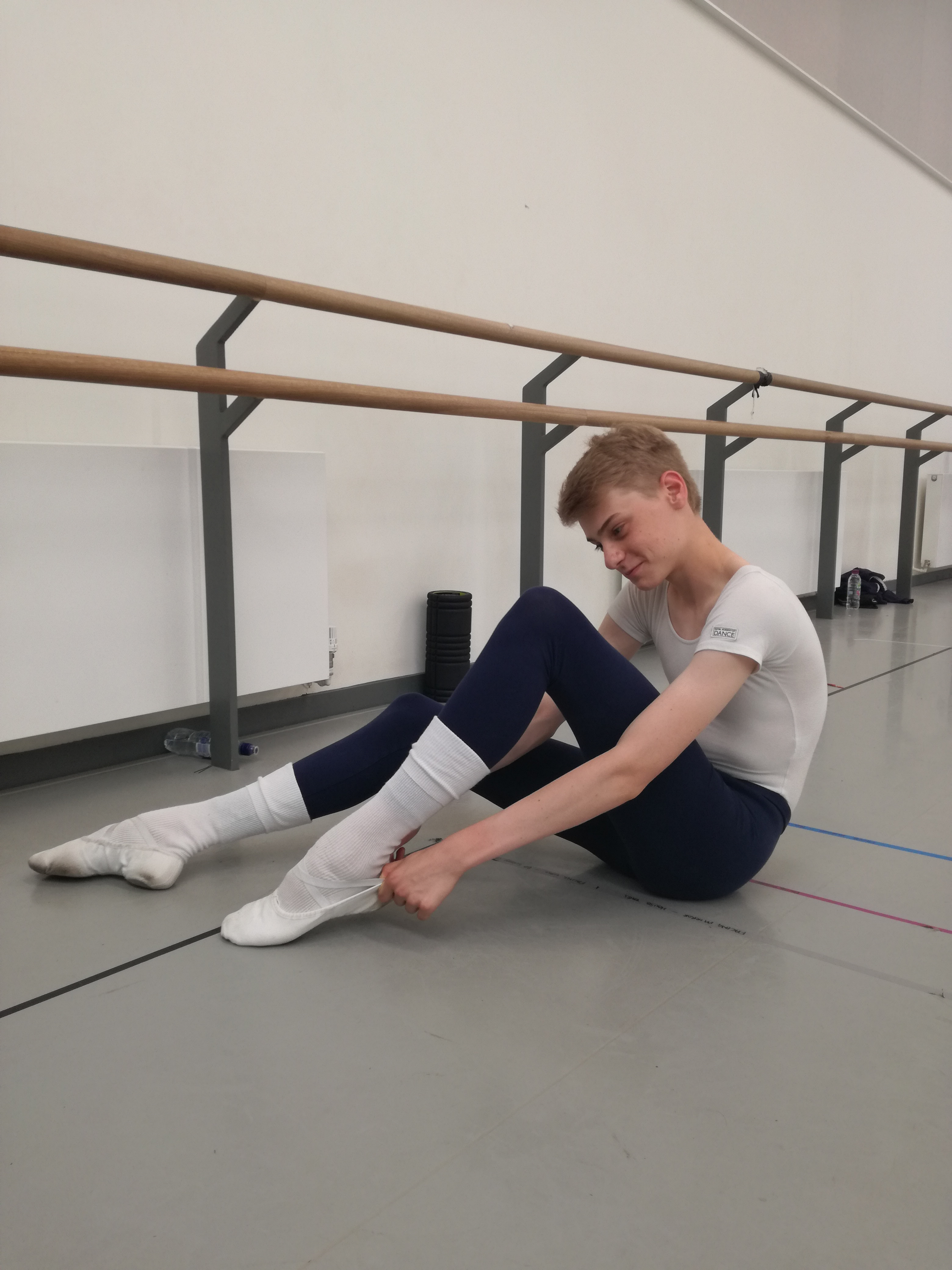 Seamus getting ready for a class in the ballet studios