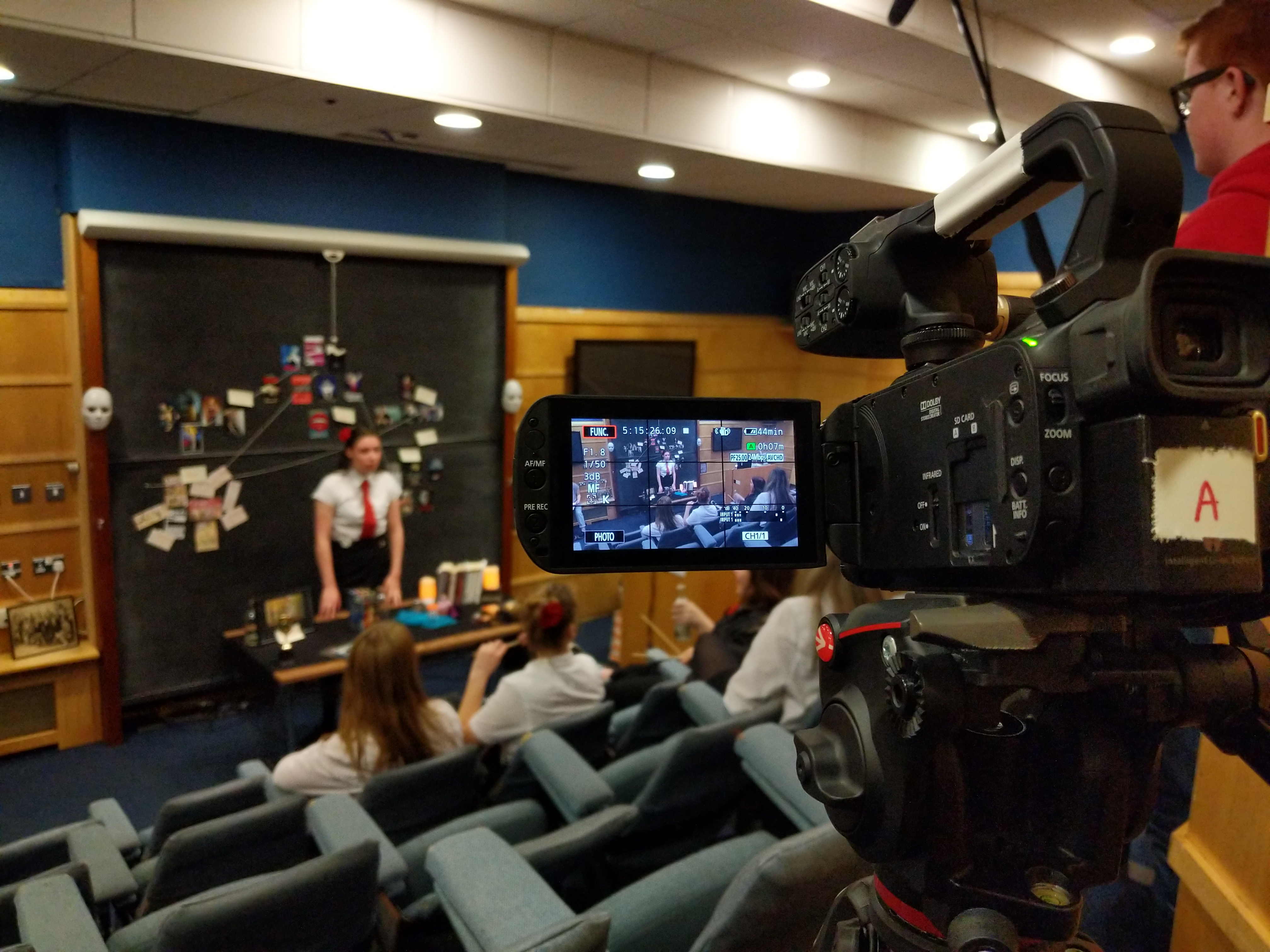Camera recording a student acting in the Fyfe Lecture room