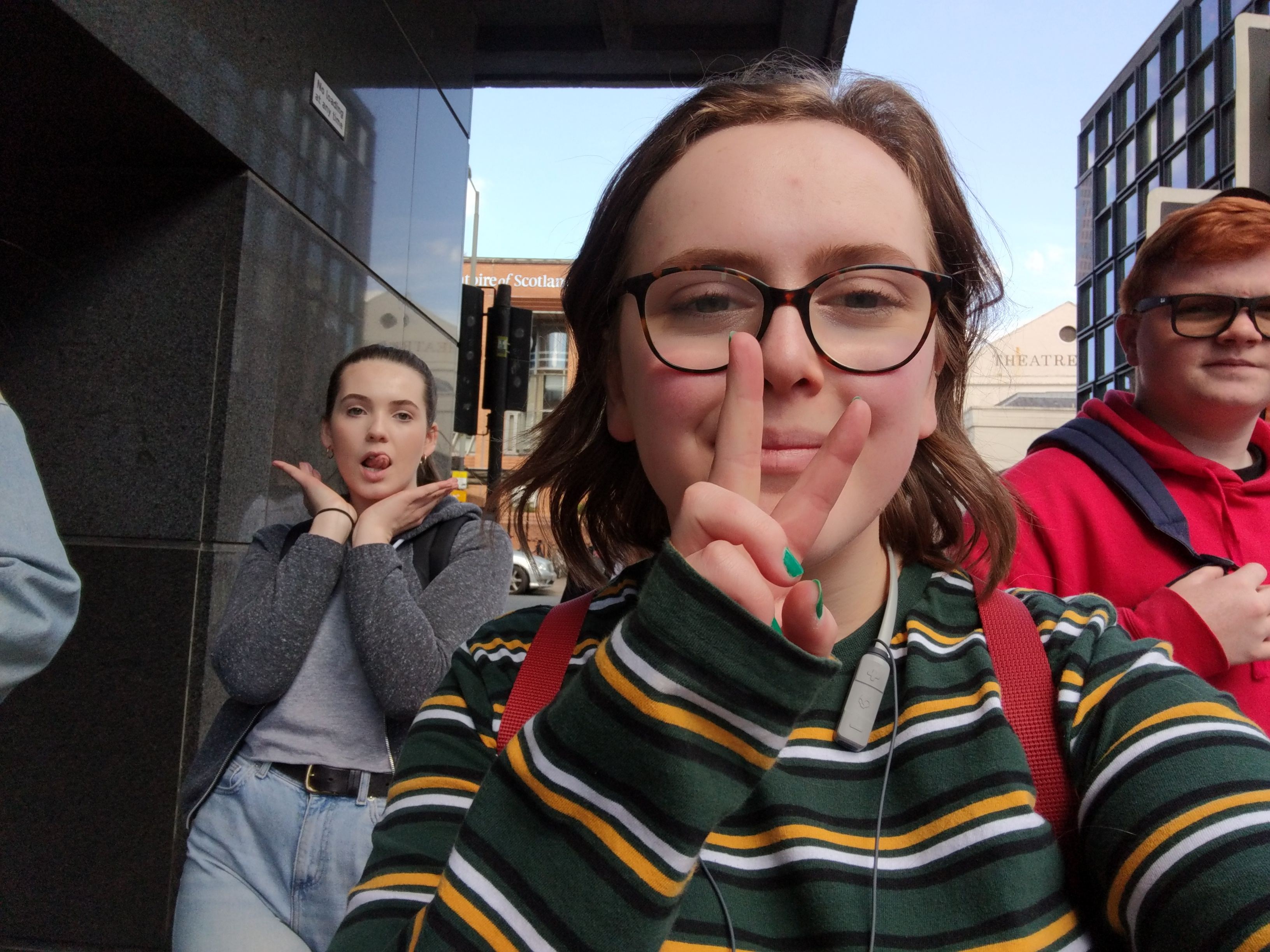 Abigail taking a picture of her and her friends from Junior Conservatoire hanging out in Glasgow.