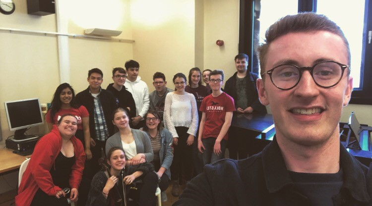 Junior Conservatoire student Gavin taking a picture of himself and his classmates