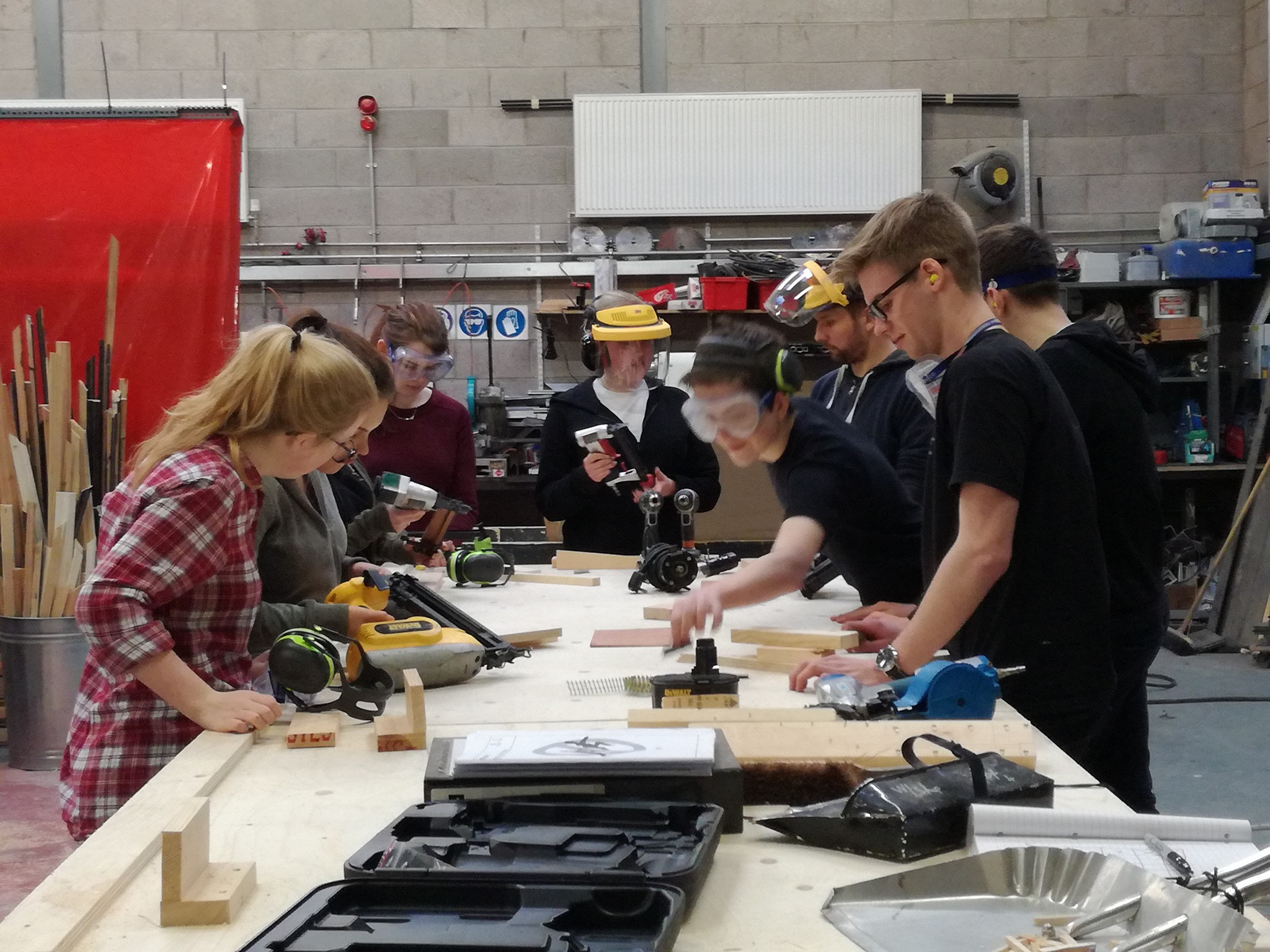 Oliver with fellow production students in the workshop