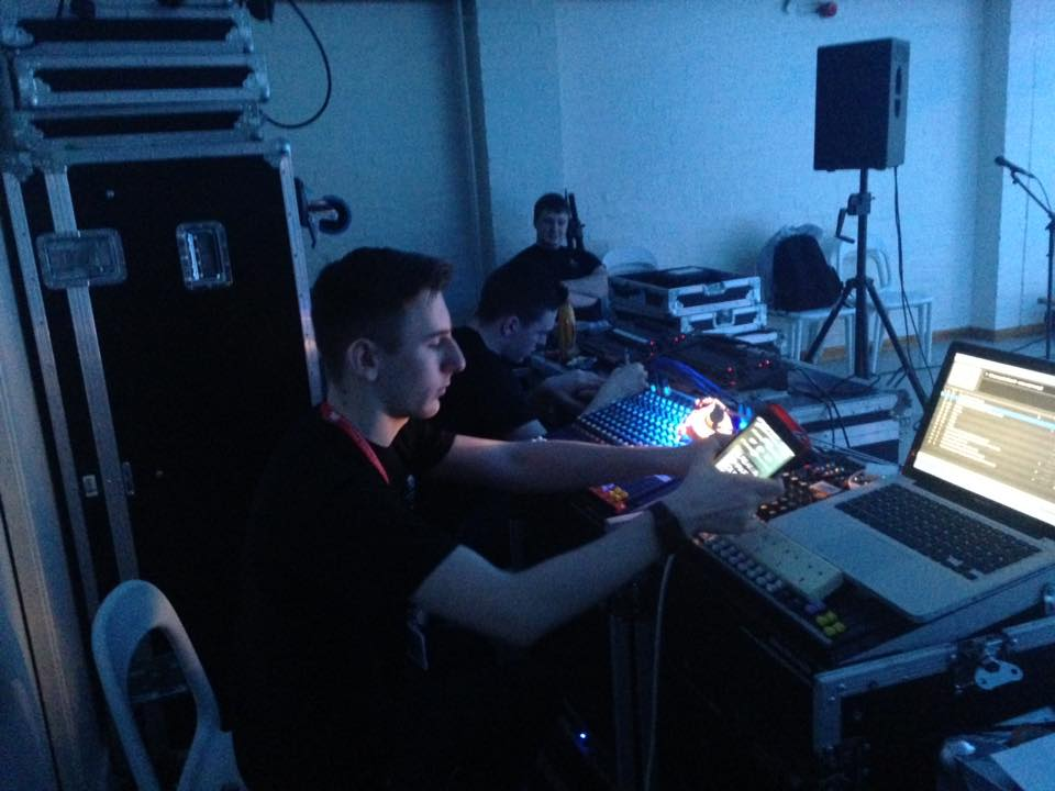 Students working on the sound and lighting for a show