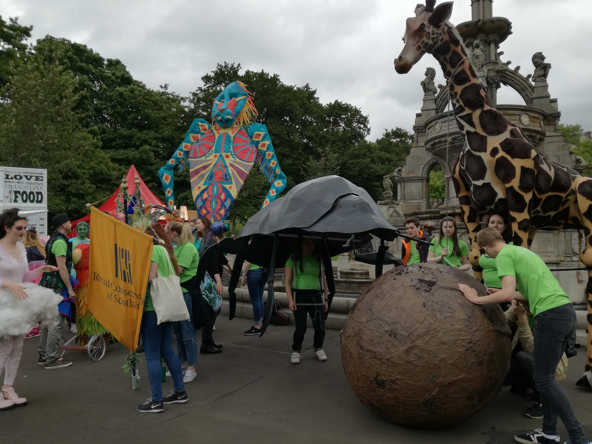 Production students showcasing their creations including a dung beetle and giraffe at the West End festival