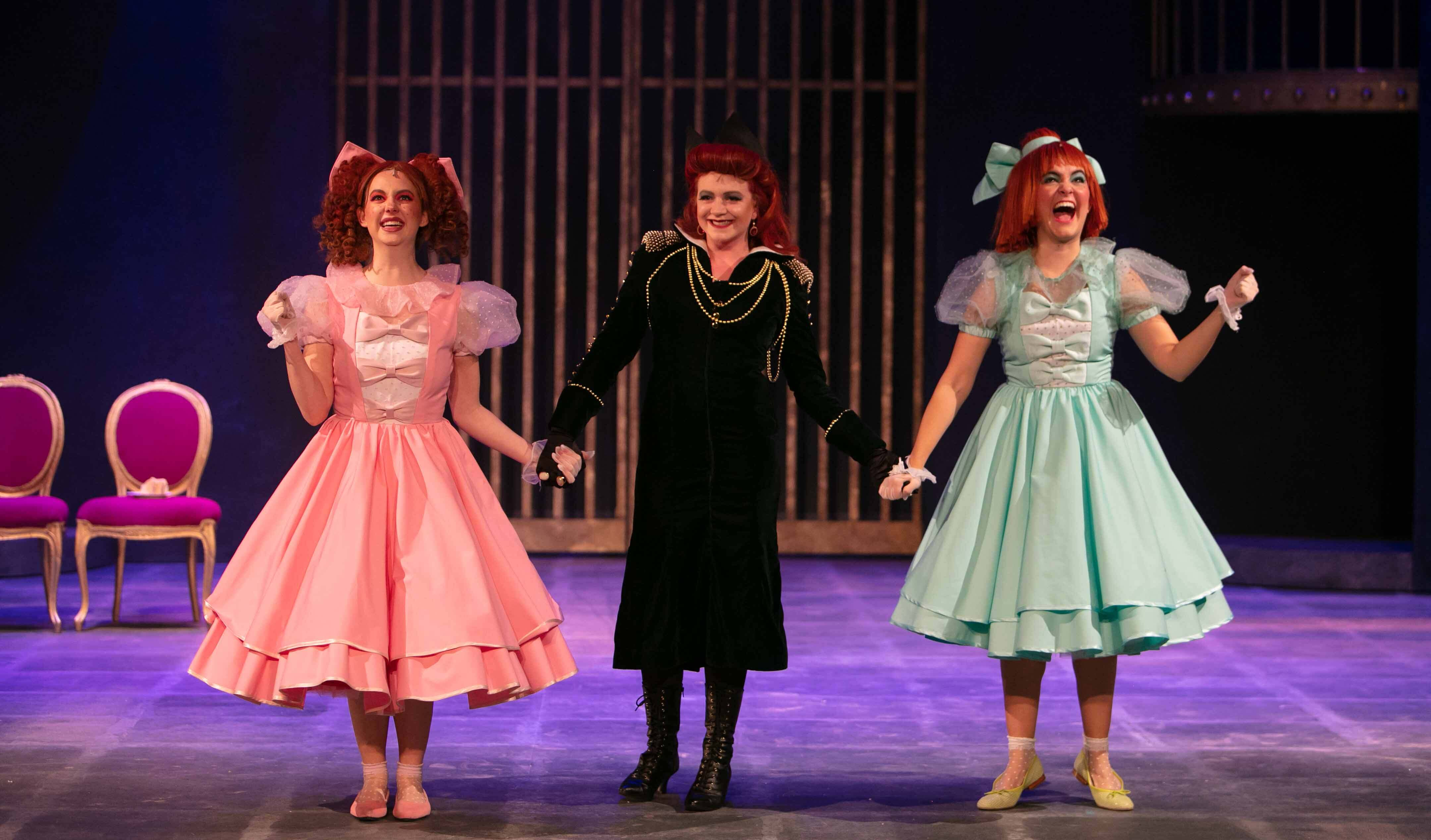 Cinderella's Stepmother holding hands with the Ugly Stepsisters