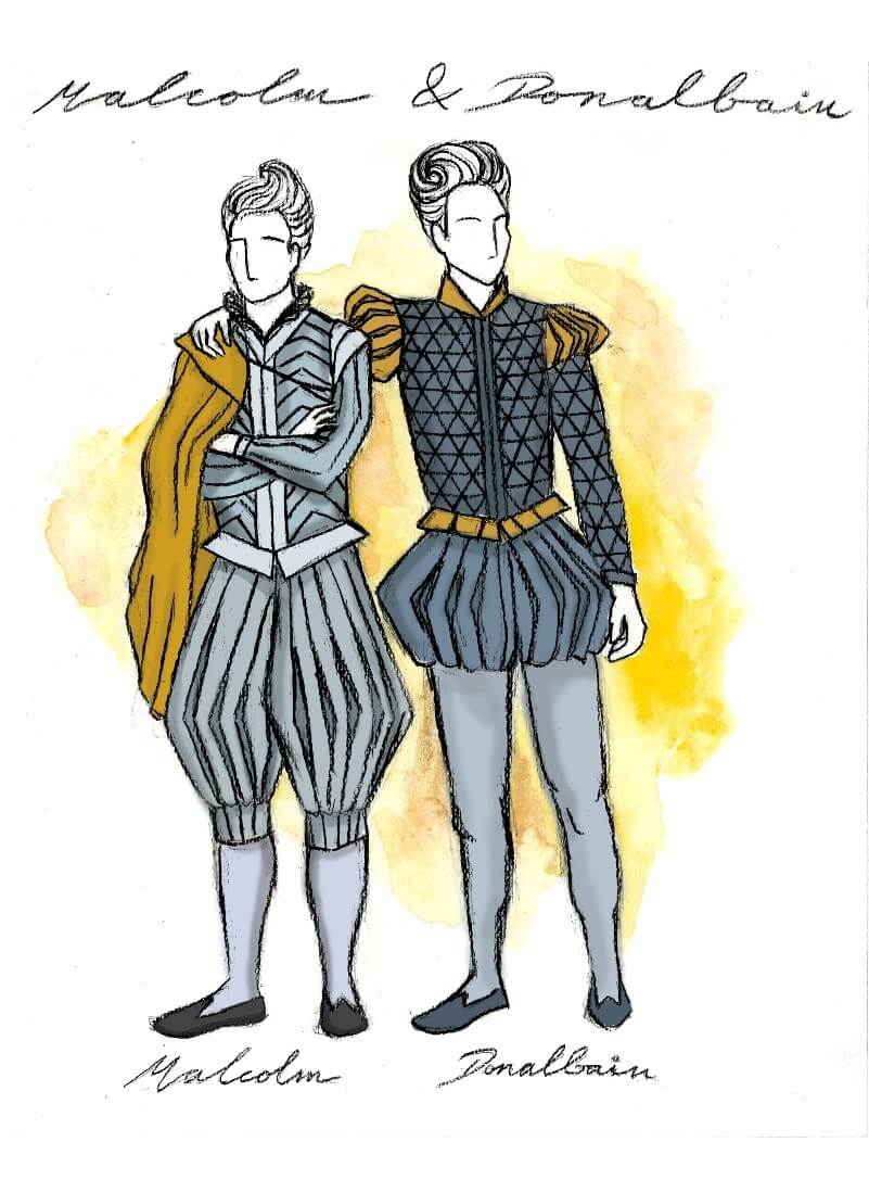 Costume design drawings of two male characters in Macbeth