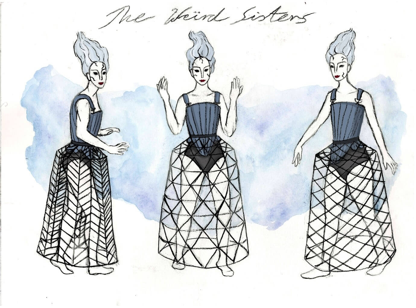 Detailed drawing of a dress on three characters
