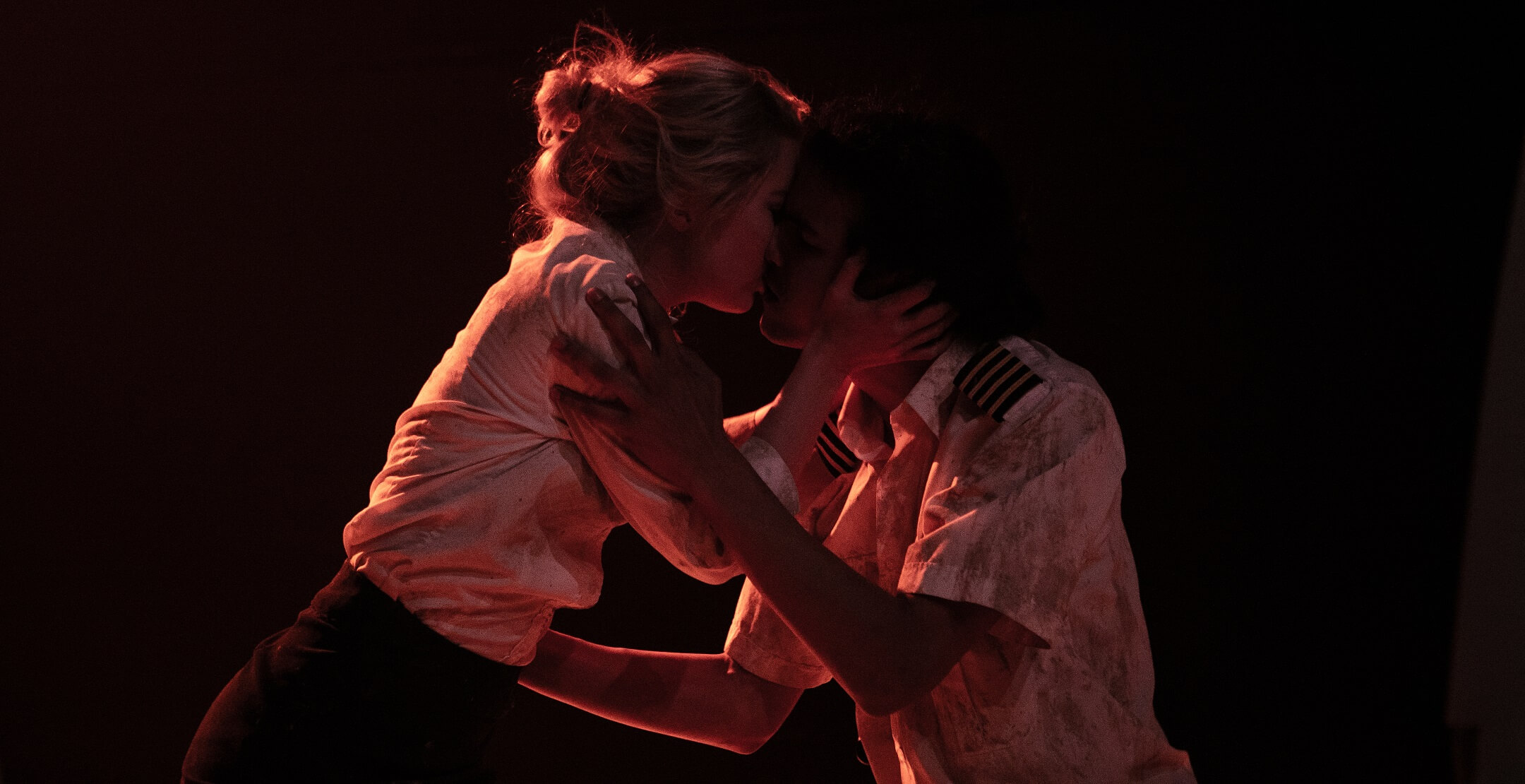 A couple kiss in a scene from the play San Diego, staged at the Royal Conservatoire of Scotland. Vanessa Coffey was the intimacy coordinator on set and in rehearsals.