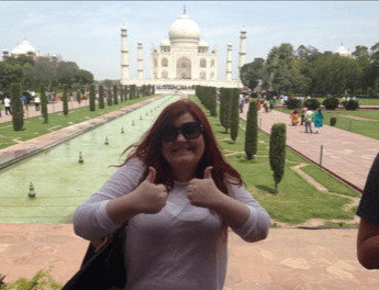 Gemma Carlin, RCS Music Ensembles Manager, in front of the Taj Mahal in India