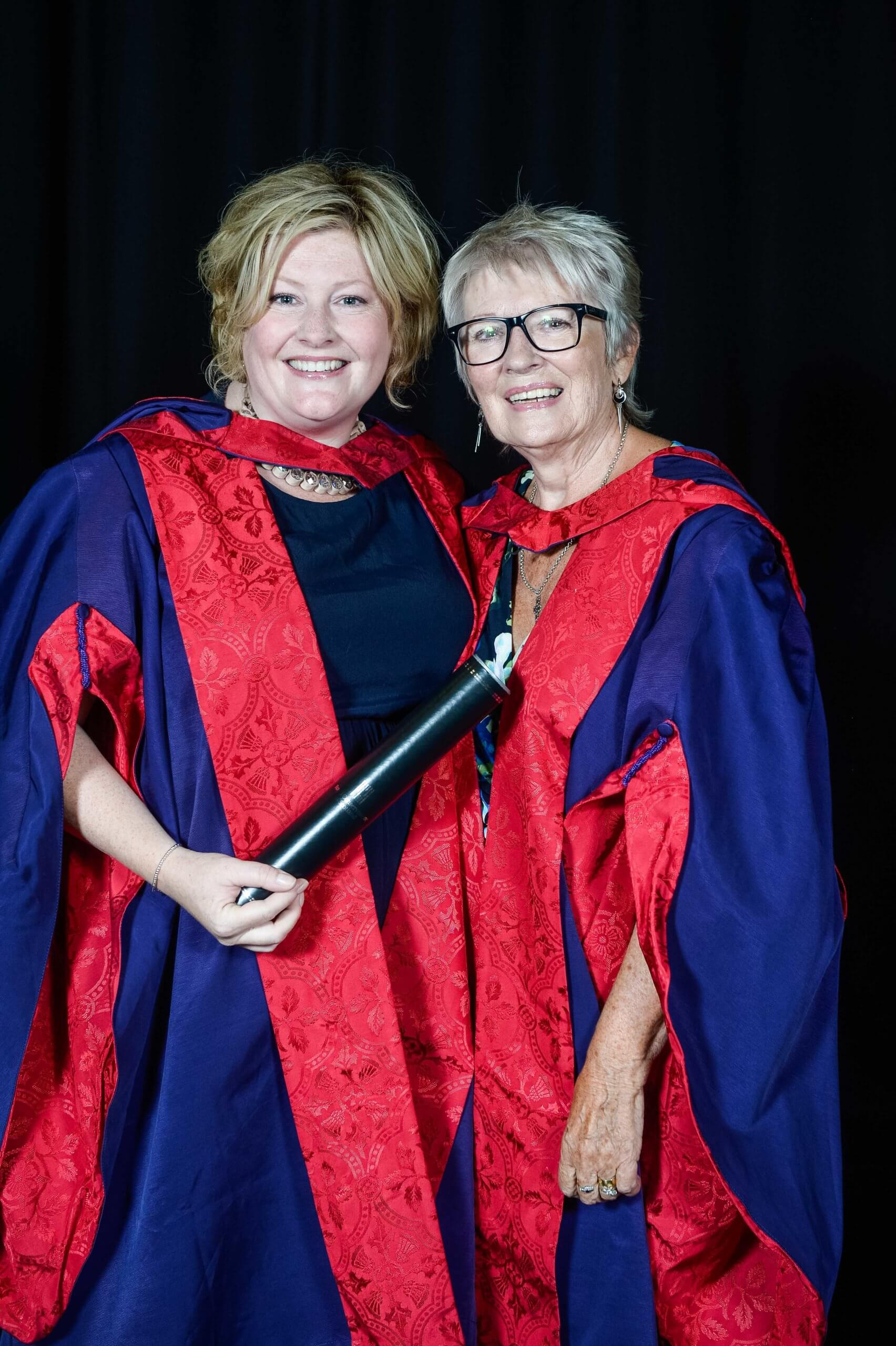 Karen Cargill and her singing teacher Patricia Hay together at the RCS graduation ceremony in 2018,