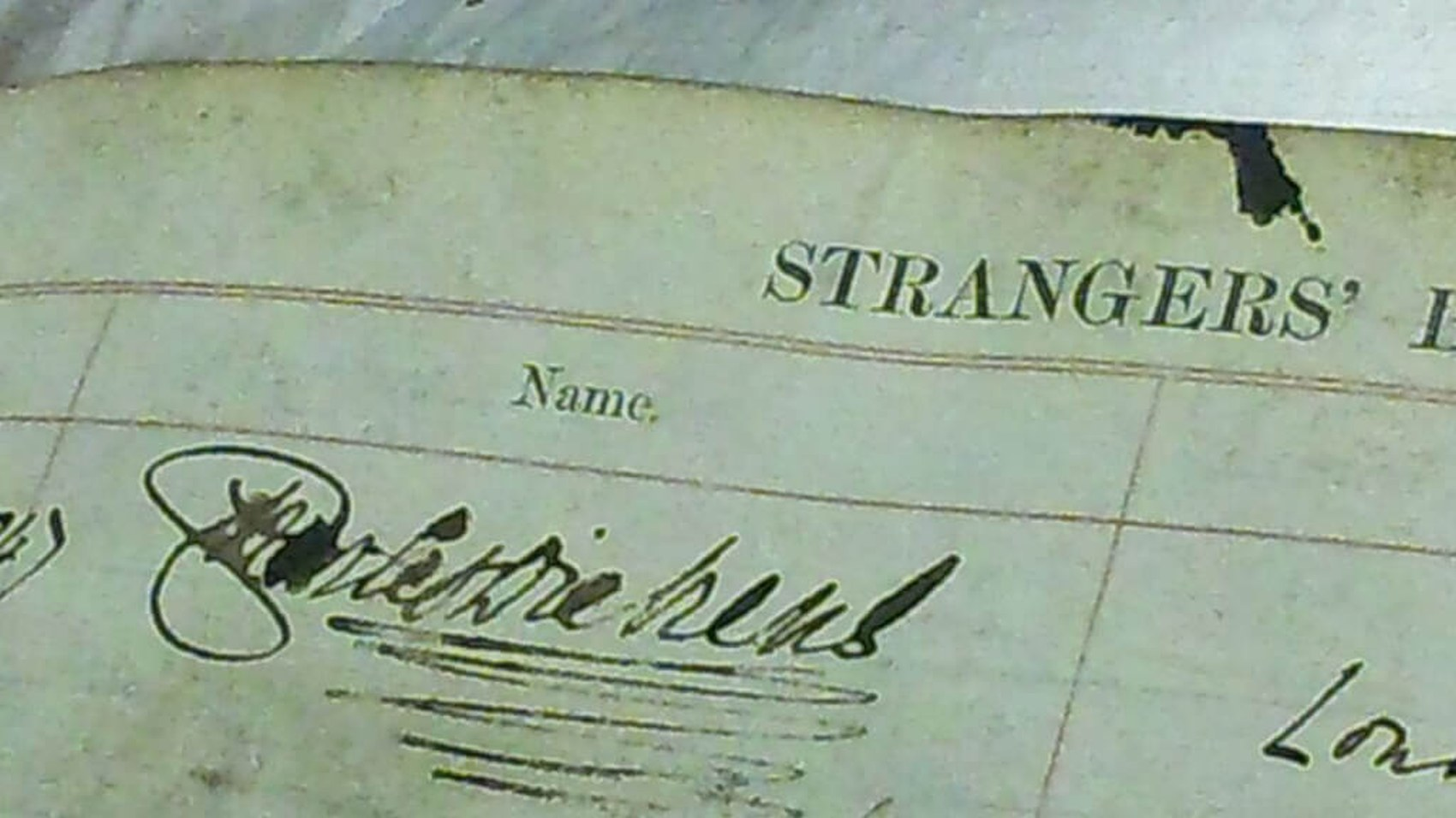 Charles Dickens' signature in the book of strangers in the RCS archive - known today as a visitors' book