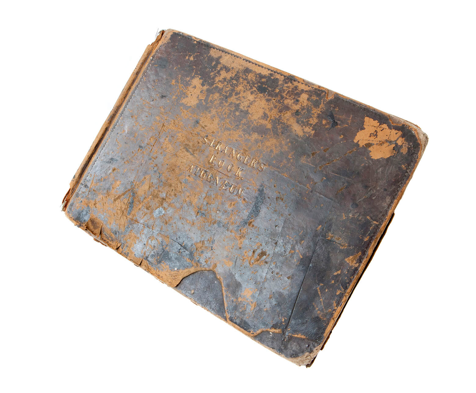 The leather bound 'book of strangers in the RCS archive which is filled with visitors' signatures including Charles Dickens, who hosted the inaugural soiree of the Glasgow Athenaeum, and Ralph Waldo Emerson.