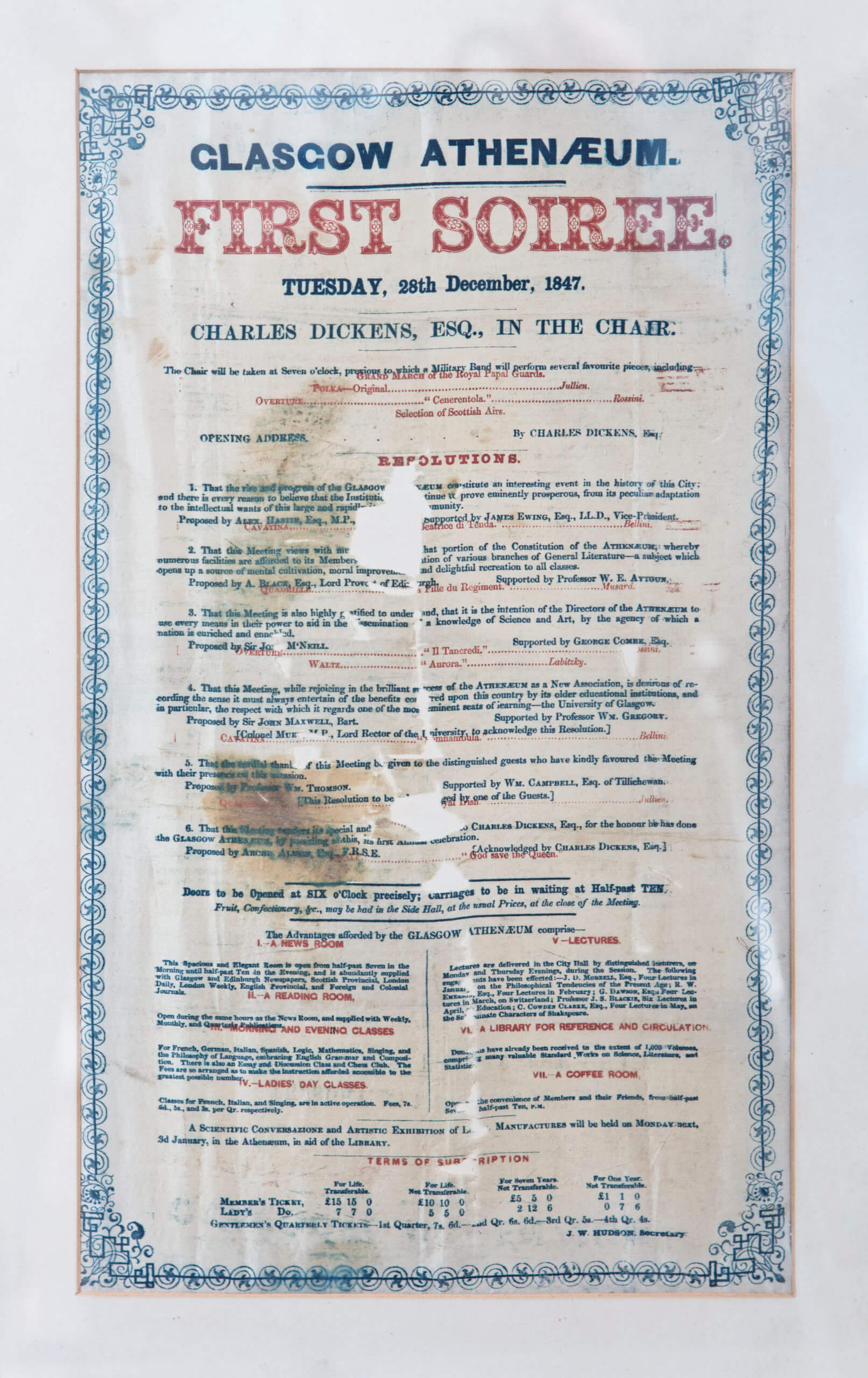 A poster for the Glasgow Athenaeum's first soiree in December 1847 in the RCS archive