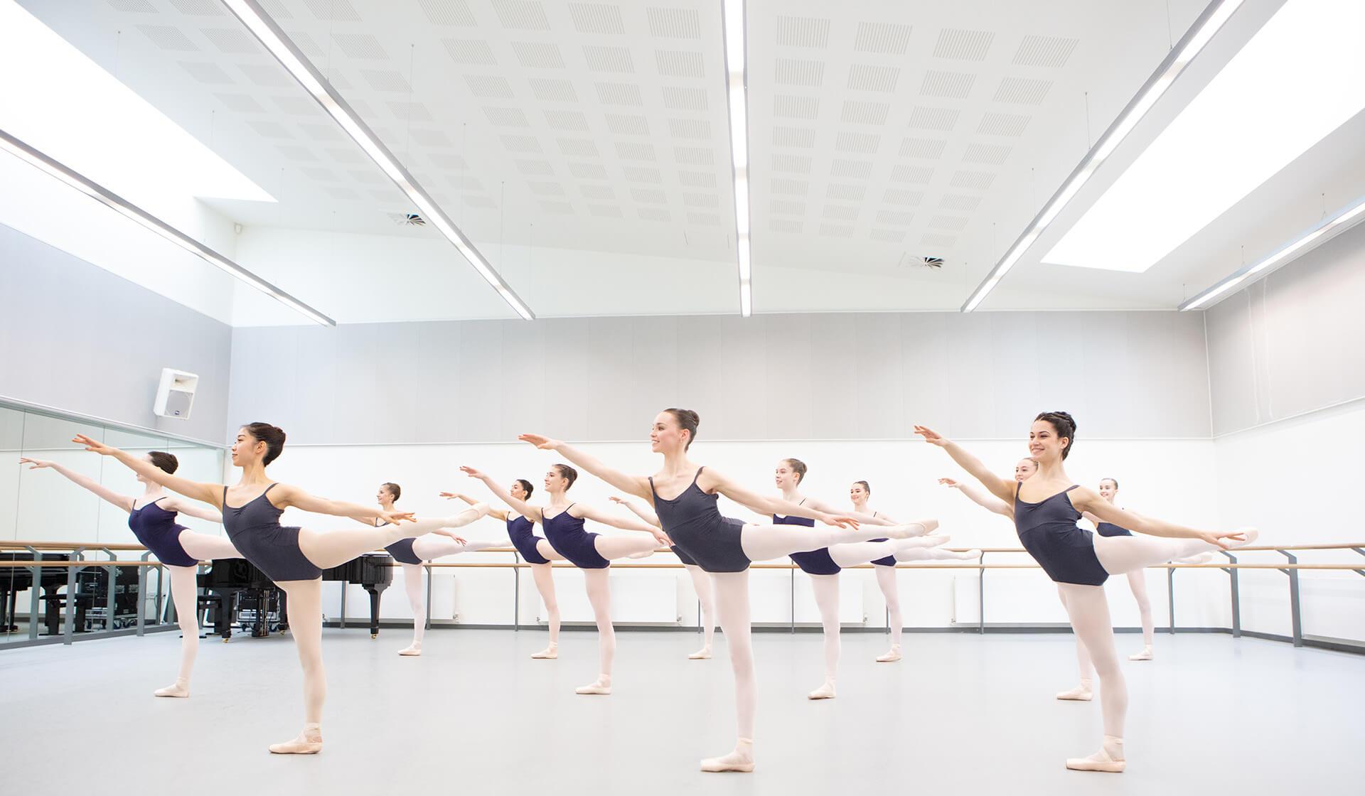 Ballet students practicing in a ballet studio