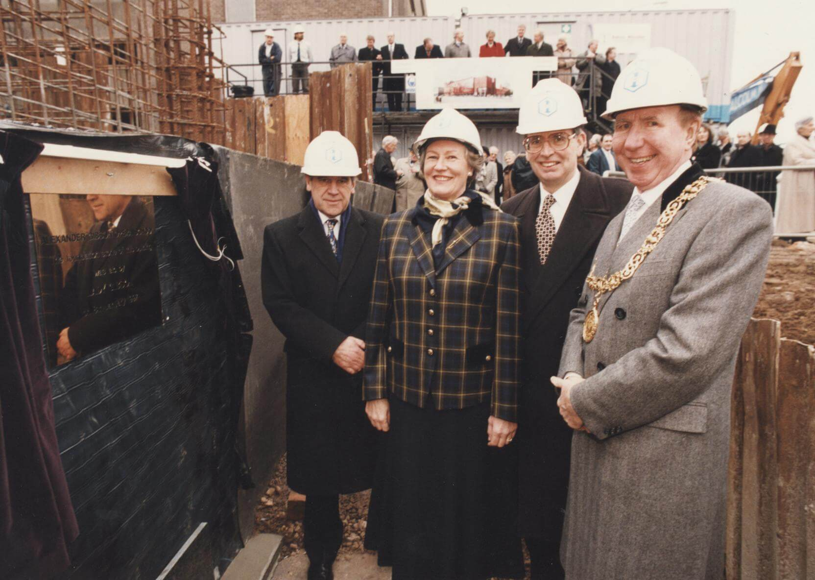 From the RCS Archive: laying of the foundation stone at the construction site of the Alexander Gibson Opera School with (from left to right) Lord Gill, Lady Gibson, Sir Philip Ledger and Lord Provost Pat Lally.