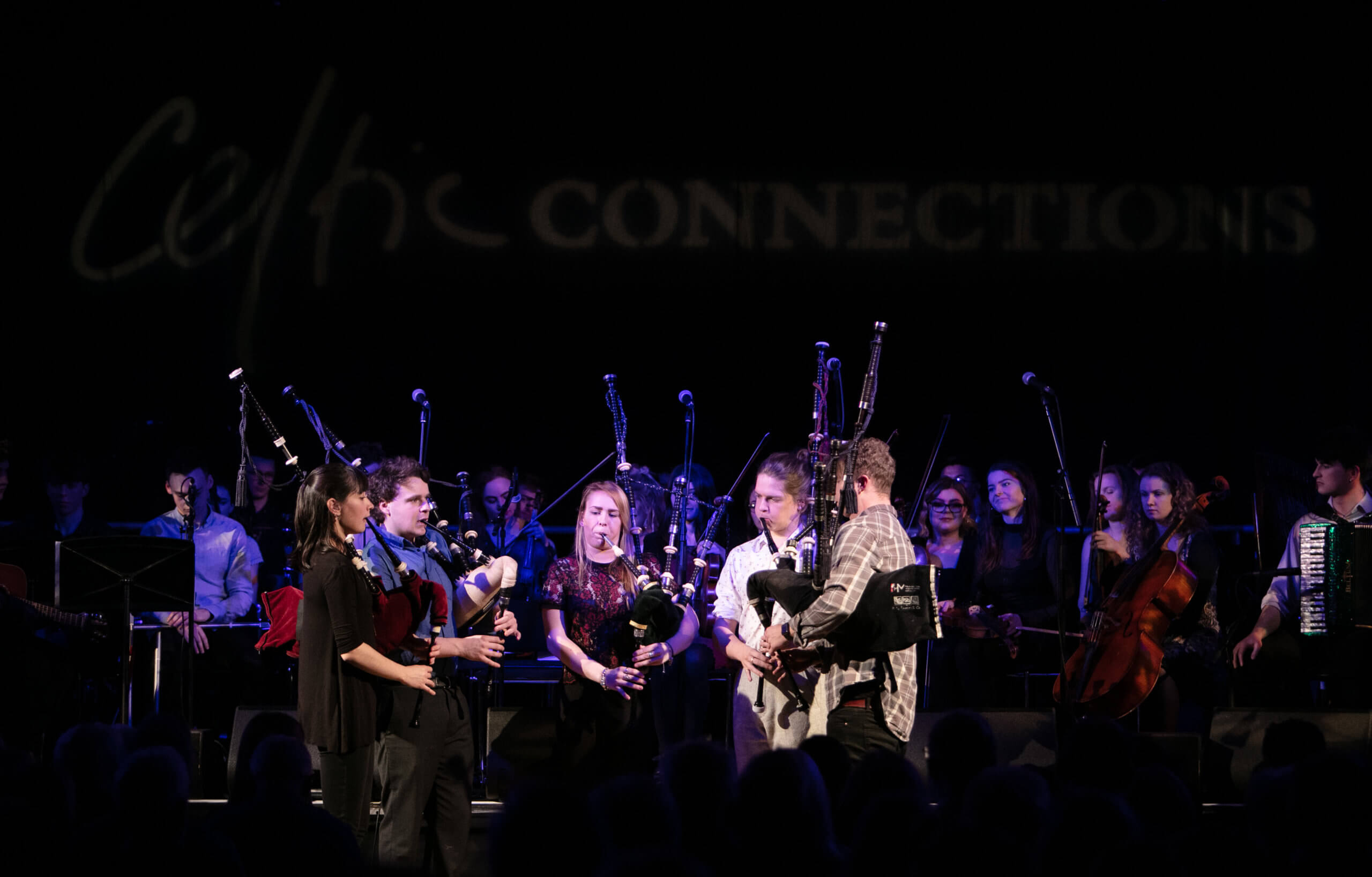 Glasgow's music scene includes the world-famous Celtic Connections festival. RCS students including pipers perform on stage at the city's Royal Concert Hall