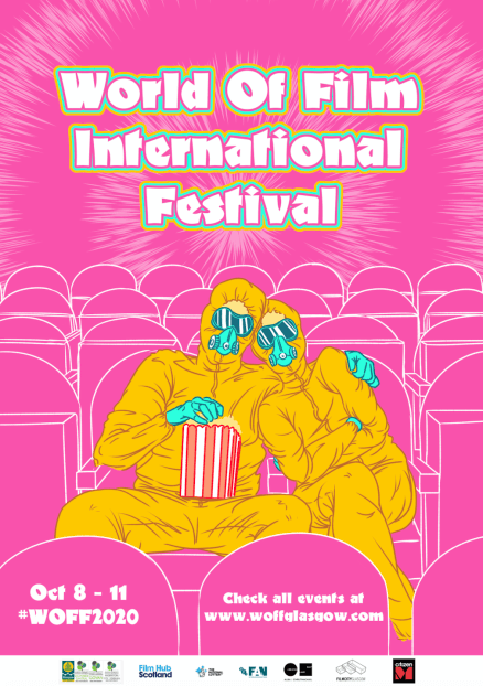 """Two figures in yellow hazmat suits cuddle in an empty cinema with a bucket of popcorn. The background is pink. The text reads """"World of Film International Festival""""."""