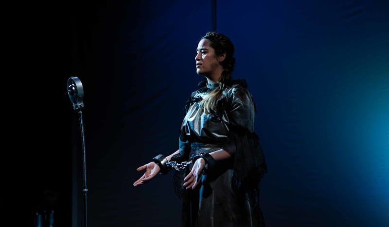 Shakara performs on stage as Queen Hermoine in The Winter's Tale