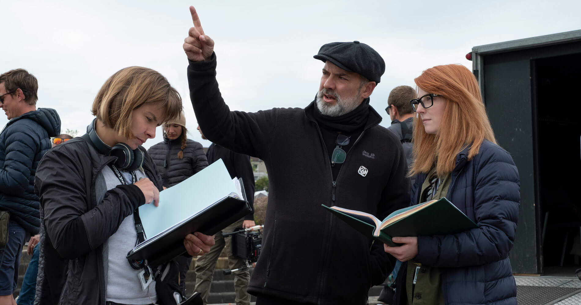 Krysty Wilson-Cairns on 1917 set with Sam Mendes and script supervisor Nicoletta Mani. Francois DuhamelUniversal Pictures and DreamWorks Pictures