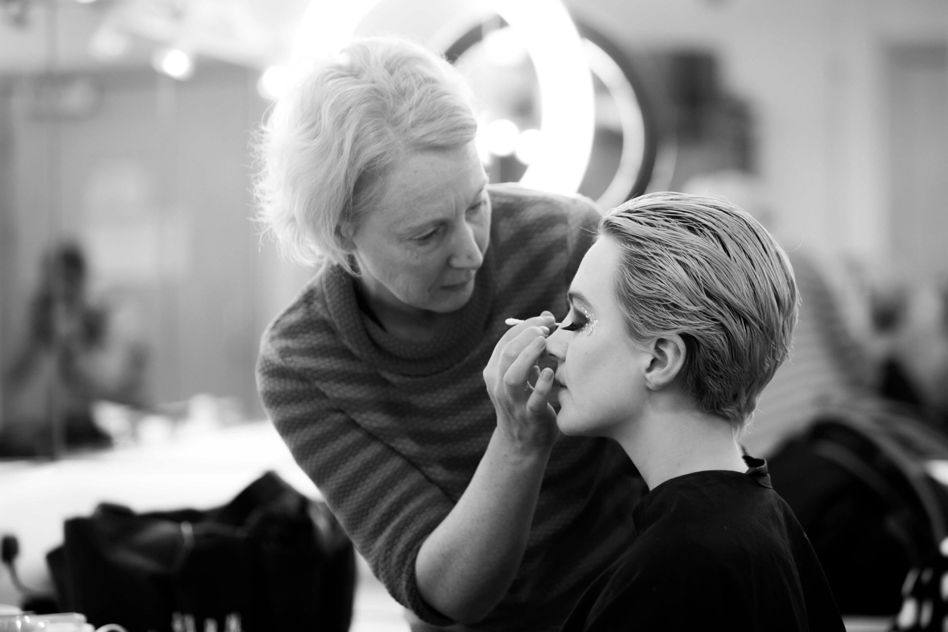Charlie O'Conor gets her make up on to transform into the Snow Queen