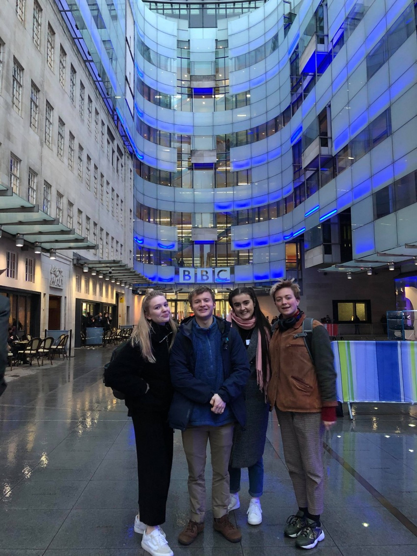 Four BA Acting students outside the BBC in London