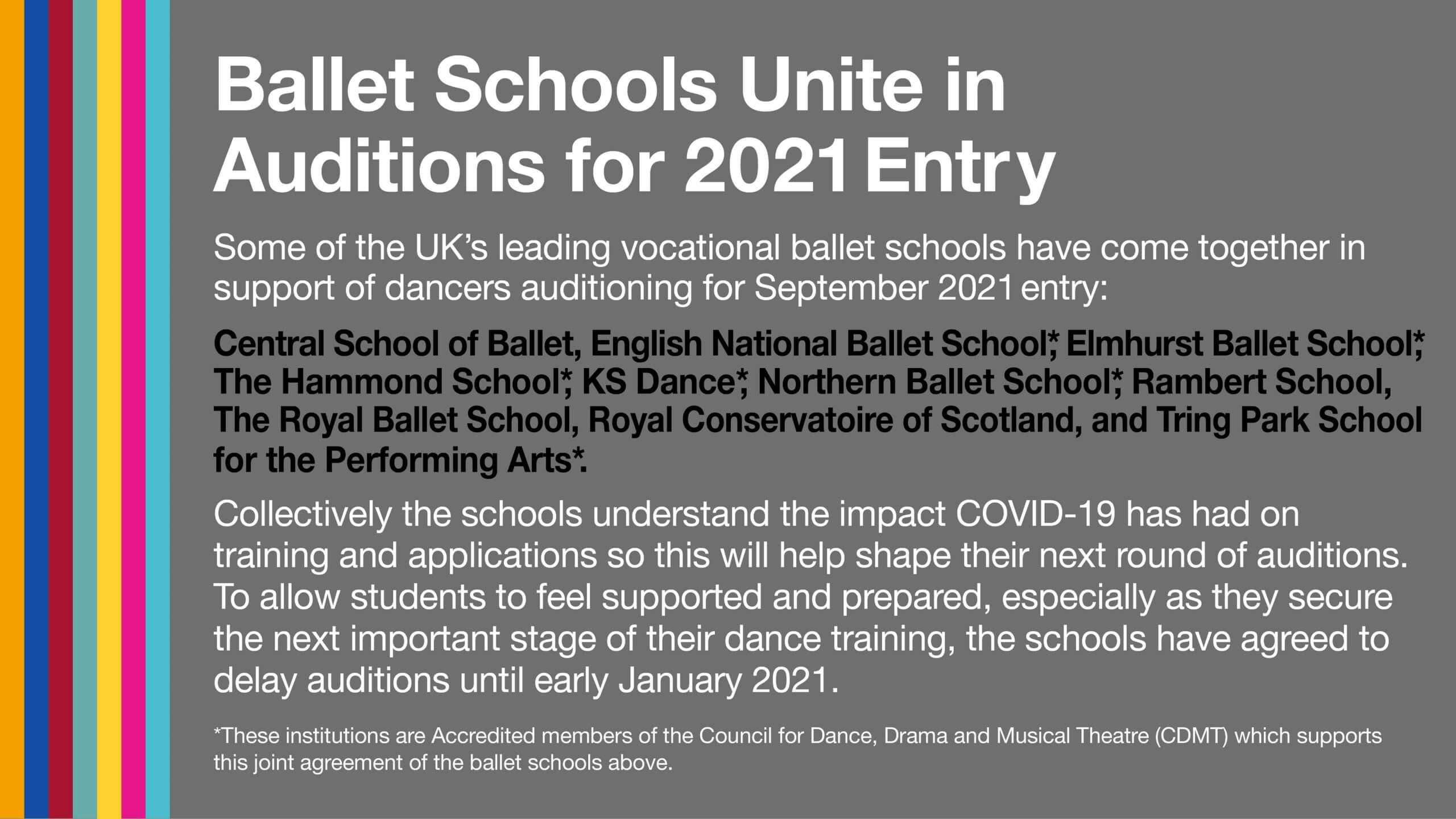 Graphic of ballet schools statement about delay to auditions for September 2021 entry