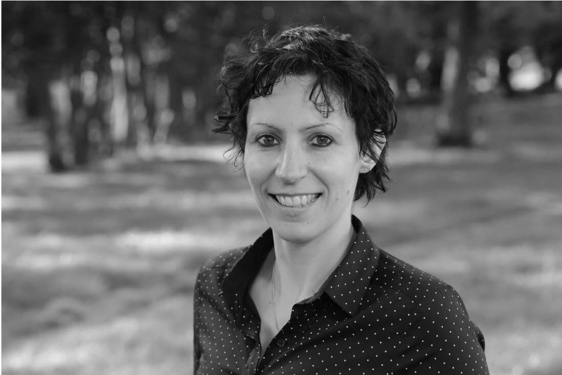 Black and white headshot of Dr Angela Jaap who has been elected as a Fellow of the RSA