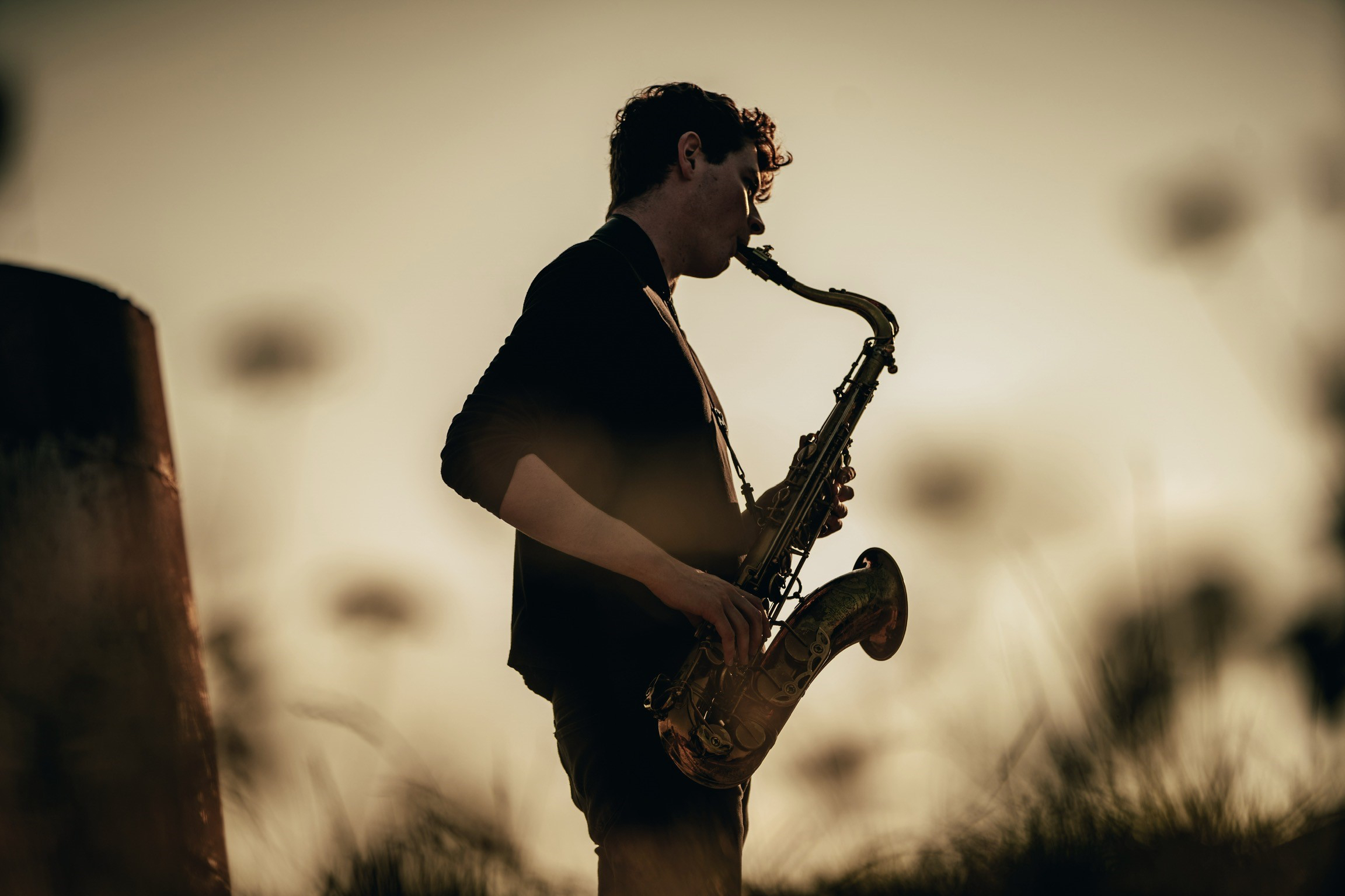 RCS student Matt Carmichael plays saxophone in a natural setting. He is a finalist in the BBC Young Jazz Musician 2020.